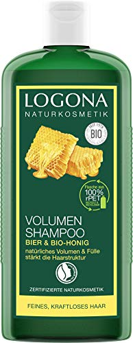 LOGONA Naturkosmetik Volumen Shampoo Bier & Bio-Honig, Verleiht feinem Haar traumhaftes Volumen, Stärkt & verleiht Fülle, Glänzendes Finish, Mit Bio-Pflanzenextrakten, 250ml