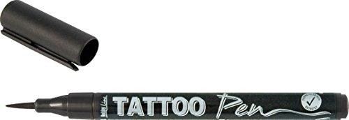 Kreul 62105 - TattooPen, Kosmetiktinte auf Wasserbasis, hält bis zu 5 Tage, dermatologisch getestet, vegan, parabenfrei, auswaschbar ab 30°C aus den meisten Textilien, Strichstärke 0,5 - 3 mm, schwarz