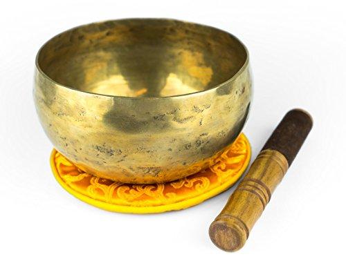 Tibetisches Klangschalen Set aus Nepal, inklusiv Holz-/Lederklöppel sowie orangefarbener Unterlage -1000-L-