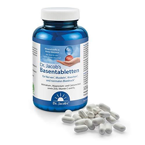Dr. Jacob\'s Basentabletten, 250 Tabletten I wenig Natrium, reich an Kalium I für Muskeln, Knochen, Gelenke und Blutdruck I Mineralstoffe Kalium, Calcium, Magnesium, Vitamine C und D I 31 Portionen
