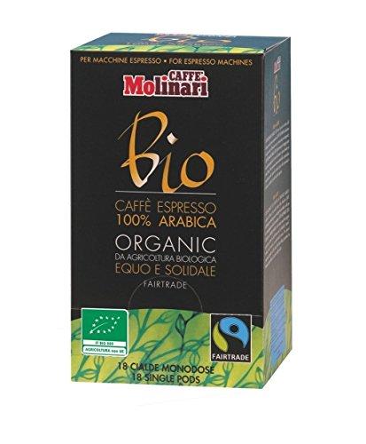 Caffè Molinari 100{36d48fb025d46aec963dab986dc999f96195af661e255e8ef2072748de3dd105} Bio-Arabica, 18 ESE Espresso Pads / Pods, 1er Pack (1 x 125 g)