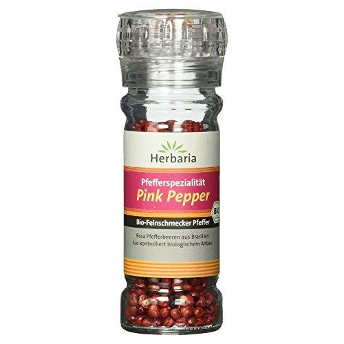 "Herbaria \""Pink Pepper\"" Pfeffer rosa, 1er Pack (1 x 20 g Glasmühle) - Bio"