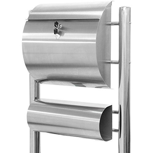 Maxstore STILISTA Hochwertiger V2A Edelstahl Standbriefkasten mit Zeitungsfach, unterschiedliche Designs, Höhe 120-144cm, Schwere Qualität (6-8kg) - 40100029