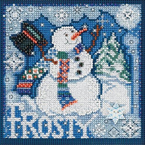 Mill Hill Kreuzstich-Set, Motiv Frosty Schneemann mit Knöpfen und Perlen, 12,7 x 12,7 cm