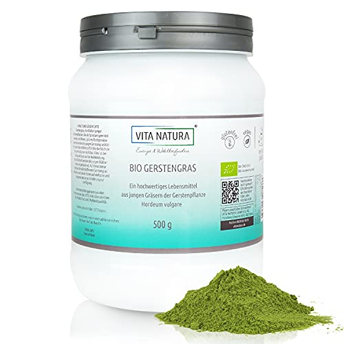 Vita Natura Gerstengras-Pulver Bio, 100{45cc33c370223e4b1385640e8691a662d42643948a4cdbe30644d04f9a1e334a} rein aus Deutschland 1er Pack (1 x 500 g) ...