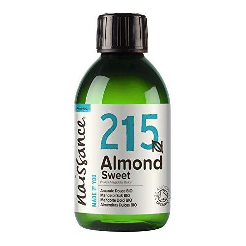 Naissance Mandelöl süß BIO (Nr. 215) 250ml - 100{d764450ac4083d2ecb57dd62760073fe8519703421f4c78e7759d800376b08d2} rein & natürlich, BIO zertifiziert, kaltgepresst, vegan, hexanfrei, gentechnikfrei Ideal für Massagen, Haut- und Haarpflege.