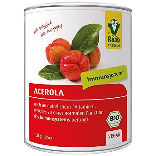 Raab Vitalfood Bio Acerola-Pulver, hochdosiert mit 17 {7e80e7ad483a624bd957b939f780aa8c3a1352860131937234363d5408d24498} natürlichem Vitamin C, laborgeprüft, glutenfrei, vegan, Extrakt, Acerola-Kirsche, 100 g Dose