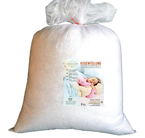 AMF Sensalux Kissenfüllung, 1000gr, Öko-Tex Standard100 Allergiker/Baby geeignet, Heller Füllstoff - waschbar bis 95 Grad und trocknergeeignet,- Spielzeugnorm DIN EN 71-3 getestet