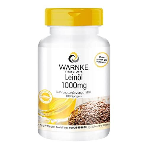 Warnke Gesundheitsprodukte Leinöl 1000 mg, kaltgepresst, 52,6 prozent Alpha-Linolensäure (Omega-3-Fettsäure), 100 Softgels, 1er Pack (1 x 142 g)
