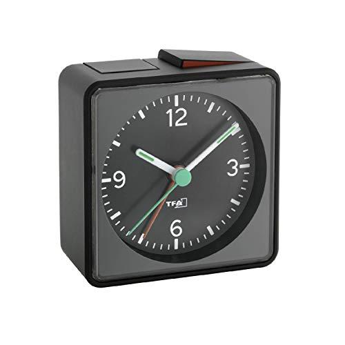 TFA Dostmann 60.1013.01 Push Elektronischer Wecker, analoger Wecker, ohne Ticken, mit ansteigenden Alarmton, 7 x 3,7 x 7 cm, schwarz, Kunstoff