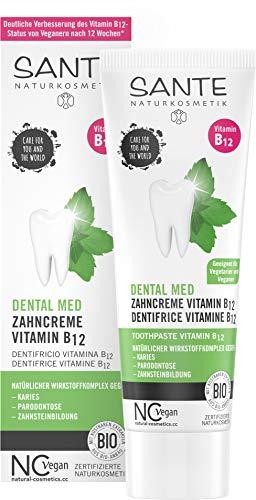 SANTE Naturkosmetik Dental med Zahncreme Vitamin B12, Schützt Zähne und Zahnfleisch, Mit Fluorid, Vegan, Bio-Extrakte, Natürliche Zahnpflege, 75 ml