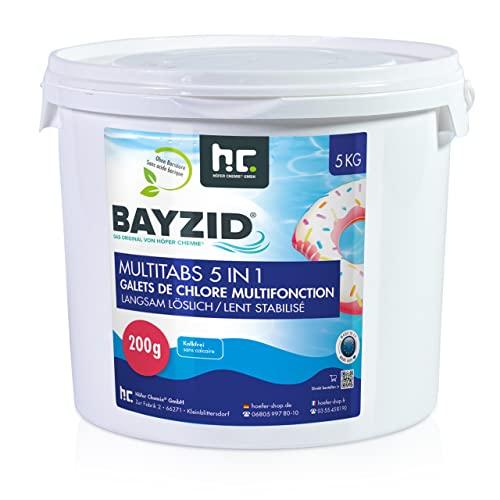 Chlor Multitabs 5 in 1 - 200g Tabs Multi Chlortabletten - 1 x 5kg - Für den Pool mit 5 Phasen Pflegewirkung für sauberes und hygienisches Poolwasser - Höfer Chemie ®