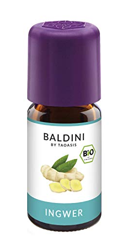 Baldini - Ingweröl BIO, 100{4f598c8e9ebb72aec47a950665467d1a8c9b4646fced820a6848ef49ba79b248} naturreines ätherisches BIO Ingwer Öl, Bio Aroma, 5 ml
