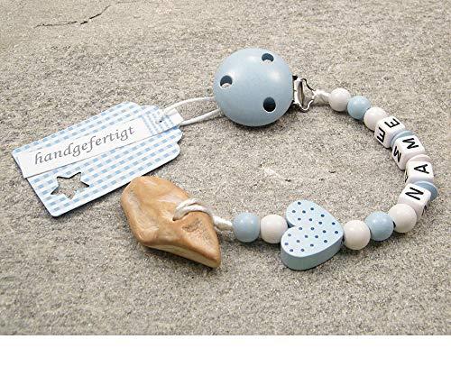 Veilchenwurzel an Schnullerkette mit Namen | natürliche Zahnungshilfe Beißring für Babys | Schnullerhalter mit Wunschnamen - Jungen Motiv Herz in blau