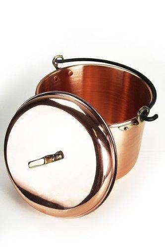 \'CopperGarden\' Kupfertopf mit Deckel - 8 Liter - 24 cm Durchmesser - glatte Ausführung mit Henkel