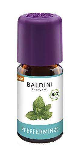 Baldini - Pfefferminzöl BIO, 100{3493cdfbc5a8e17afe5ab72519ac556a80af424d1cbe1a32f3c01e8bbe4a952a} naturreines ätherisches BIO Pfefferminz Öl, Bio Aroma, 5 ml - auch China Öl genannt
