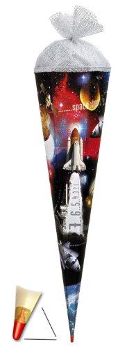 Unbekannt Schultüte - Space 35 cm - mit Tüllabschluß - Zuckertüte Roth Weltraum Raumschiff Rakete All Mond Raumfahrt