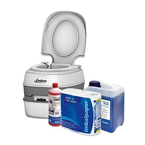 Campingtoilette Starter-Set Blue 2,5 Liter Enders Comfort [ 4945 ]: inkl. Sanitärflüssigkeit und WC Papier - mobile Chemietoilette Campingklo Camping-Toilette