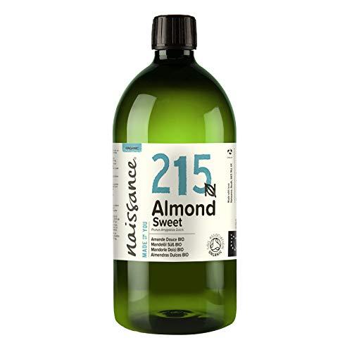 Naissance Mandelöl süß BIO (Nr. 215) 1 Liter (1000ml) - 100{d764450ac4083d2ecb57dd62760073fe8519703421f4c78e7759d800376b08d2} rein & natürlich, BIO zertifiziert, kaltgepresst, vegan, hexanfrei, gentechnikfrei Ideal für Massagen, Haut- und Haarpflege.