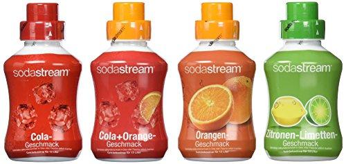 SodaStream Sirup 4er-Pack mit Cola-, Orange-, Zitrone-Limette-, Cola-Orange-Geschmack (4x 500 ml)