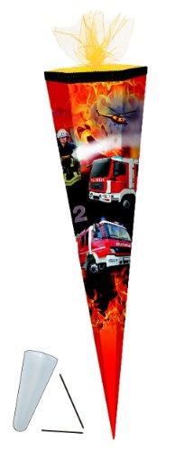 Unbekannt Schultüte - Feuerwehr 50 cm - mit Tüllabschluß - mit / ohne Kunststoff Spitze - Zuckertüte Jungen Auto Autos Fahrzeug Helikopter