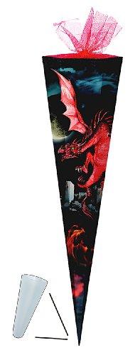 Unbekannt Schultüte - Drache rot 85 cm - mit Tüllabschluß - mit / ohne Kunststoff Spitze - Zuckertüte Drachen schwarz Ritter Ritterbug Dragon