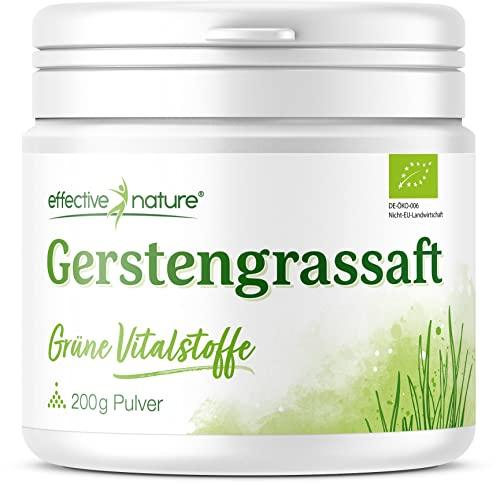 effective nature Gerstengrassaft Pulver - Bio - Reich an Eisen, Zink und Folsäure - 200g