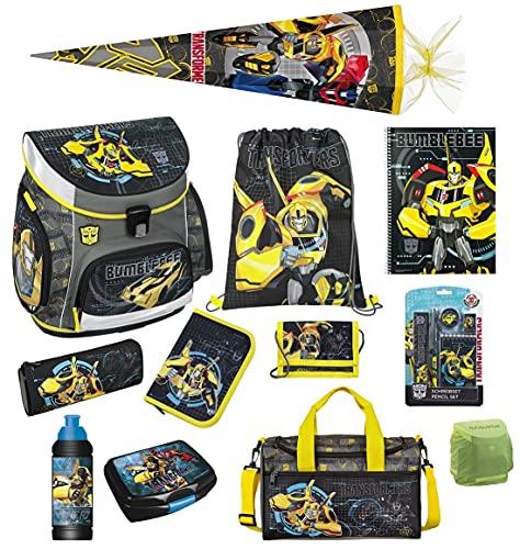 Familando Transformers Bumblebee Schulranzen-Set 20 TLG. mit Federmappe, Sporttasche, große Schultüte 85cm und Regenschutz