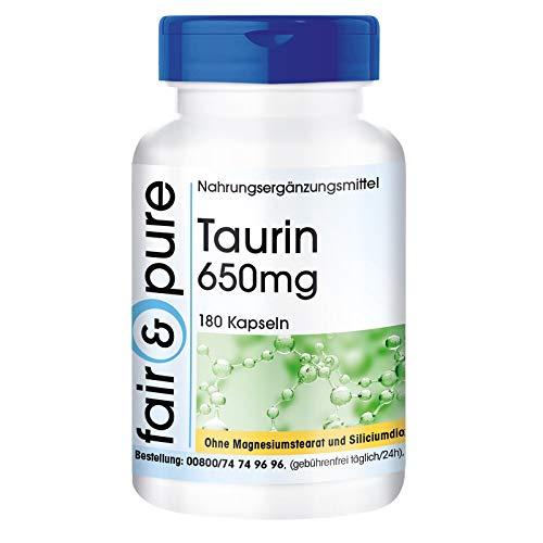 Taurin Kapseln 650mg - vegan - ohne Magnesiumstearat - 180 Taurin Kapseln