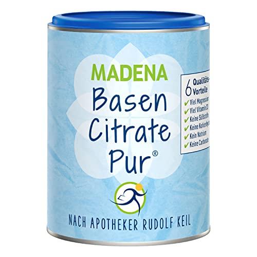 MADENA BasenCitrate Pur | Basenpulver 216g Dose | Das Original mit 100{c0f78c0740f5d7ac0783a4e039b42f0e8c06bd18c04b88775994a6aa4567c7df} organischen Basen VEGAN | Viel Magnesium als Citrat, Zink, Kalium, Calcium Diät - Basenfasten Vitamin D3 aus Flechten