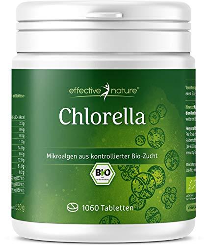 effective nature Bio Chlorella Algen Tabs | 500 mg hochdosiert | 100 {7d8245277677232ac88855775c222551c671fdda6e136ff1a2b609a41f089f22} reines, veganes Chlorella Vulgaris Pulver in Bio-Qualität | abgefüllt & kontrolliert in Deutschland (DE-ÖKO-006) | 1060 Presslinge