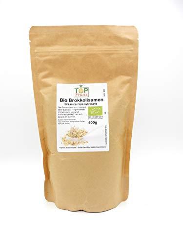 Topfruits Brokkolisamen (Sorte Rabe), bio kbA, 500g - Top- Sulforaphangehalt, für Brokkolisprossen und Direktverzehr (umfangreiche Verwendungshinweise), geprüfte Qualität