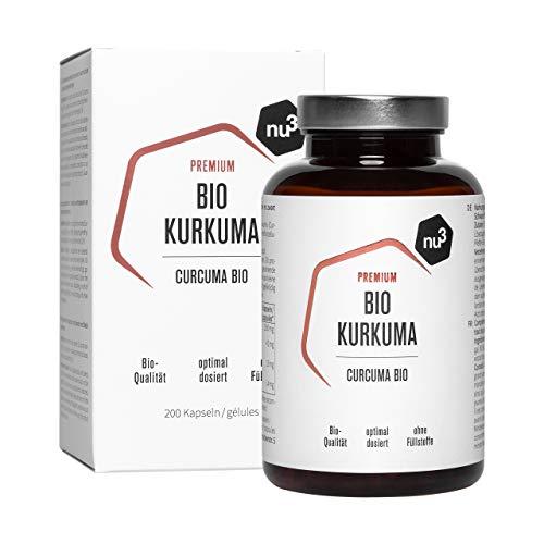 nu3 Premium Bio Kurkuma (Curcuma) - mit Piperin hochdosiert in veganen Kapseln - 200 Stück - enthält natürliches Curcumin & Piperin aus schwarzem Pfeffer-Extrakt - Pulver Laborgeprüft aus Deutschland