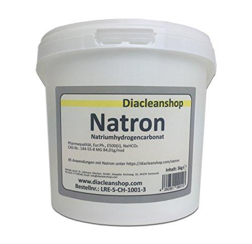 Natron 5 kg Pulver in pharmazeutischer Qualität - Natriumhydrogencarbonat (E500ii) - NaHCO3 - Backsoda - Basenbad - Hausmittel zum Backen, Reinigen, Baden, Gerüche Neutralisieren & DIY-Kosmetik
