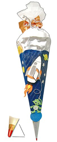 Unbekannt BASTELSET Schultüte - Weltraum 85 cm - mit Holzspitze - Zuckertüte Roth - ALLE Größen - 6 eckig Space Jungen Weltall Rakete Planeten Stern All Raumschiff