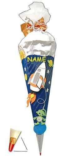 Unbekannt BASTELSET Schultüte - Weltraum 85 cm - incl. Namen - mit Holzspitze - Zuckertüte Roth - ALLE Größen - 6 eckig Space Jungen Weltall Rakete Planeten Stern All R..