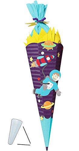 Unbekannt BASTELSET Schultüte -  Weltraum  - 85 cm - mit / ohne Kunststoff Spitze - Zuckertüte zum selber Basteln - 6 eckig Jungen Rakete Planeten Erde All Sterne WEL..