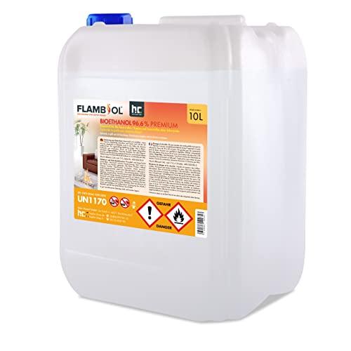 Höfer Chemie 1 x 10 L Bioethanol 96,6{7d7d2018240866c5bfde195f45af084c8022405dbc2cc7ad09a5c5ba8c364e96} Premium - TÜV SÜD zertifizierte QUALITÄT - für Ethanol Kamin, Ethanol Feuerstelle, Ethanol Tischfeuer und Bioethanol Kamin