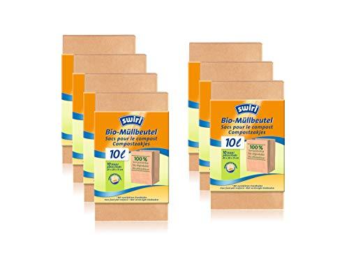 Swirl Bio-Müll-Papierbeutel, 10 Liter, 100{1b62d95c41f15df460b22b356c0783829f39460d5b542a4905c38fb2f93000fd} kompostierbar, 7 Rollen mit je 10 Beuteln