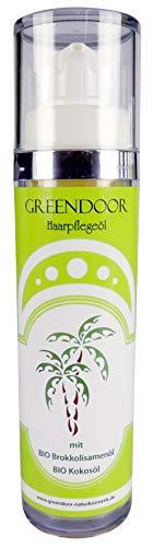 GREENDOOR Haarpflegeöl - natürlicher Hitzeschutz mit BIO Brokkolisamenöl, nährendes Haaröl, Haar-Pflege mit BIO Kokosöl, ohne Silikon, 50ml - Aufbaupflege Haare, Naturkosmetik