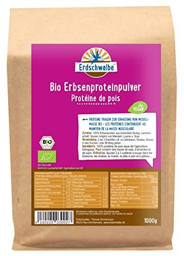 Erdschwalbe EU Bio Erbsenprotein - Hergestellt in der EU - 87{834a0360d9429091d3e833563cc5f4264ea920ec179b33f29f347d93c564fc32} Proteingehalt - Veganes Eiweißpulver - 1 Kg