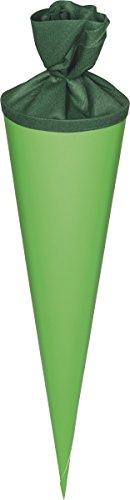 Heyda 204870054 Schultüten-Rohlinge mit Filzverschluss (Höhe 70 cm, Durchmesser 19 cm, Karton, 380g/m²) grün