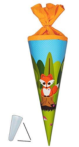 Unbekannt Schultüte - Fuchs mit Pilz - 35 cm - rund - Filzabschluß - Zuckertüte - mit / ohne Kunststoff Spitze - Glückspilz - Füchse / Waldtiere Eichhörnchen Punkte - f..