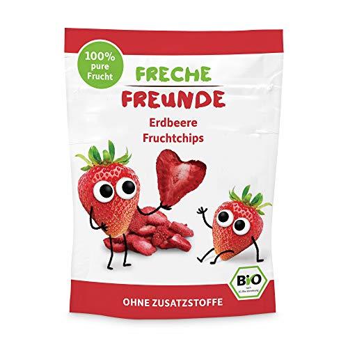 """Freche Freunde Bio Fruchtchips \""""100{bb04f236c004029b850834fc180ac473a6270acbde80ce937fab214371540441} Erdbeere\"""", gefriergetrocknet Obst Chips Erdbeere, ohne Zuckerzusatz, vegan, laktosefrei, glutenfrei, 12er Pack (12 x 12 g)"""