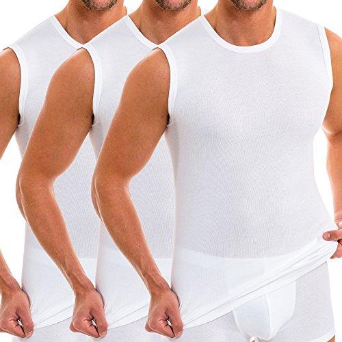 HERMKO 3040 3er Pack Herren Tank Top Unterhemd mit Rundhals-Ausschnitt, Farbe:weiß, Größe:D 5 = EU M