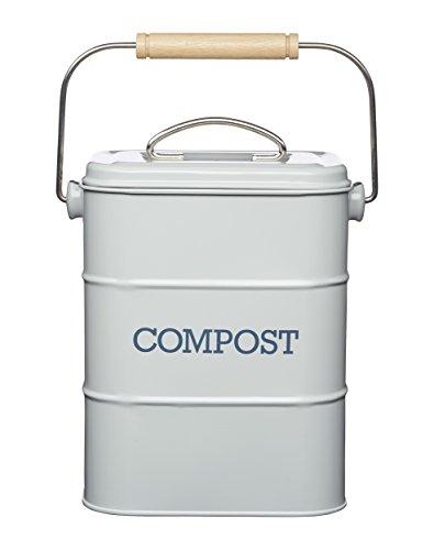 Kitchen Craft LNCOMPGRY Living Nostalgia Edelstahl Komposteimer, 3 Liter, Antikoptik, French Grey