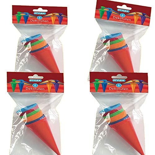 24 Kleine Schultüten Deko bunt Höhe 12 cm oberer Durchmesser 4 cm