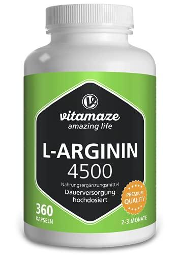 L-Arginin hochdosiert Kapseln 4500 mg je Tagesdosis | 360 Kapseln für 3 Monate | ohne Magnesiumstearat | Made in Germany