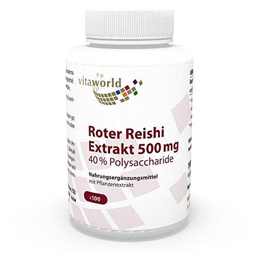 Vita World Premium Roter Reishi Extrakt 500mg 40{1488d6d24db53832340a0f31705b7967093d6a06c785cfd794084807d23d224d} Polysaccharide 100 Kapseln Apotheken Herstellung ganoderma lucidum ling zhi