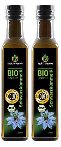 Kräuterland Bio Schwarzkümmelöl, Bio-zertifiziert, 2x 250ml, gefiltert, kaltgepresst, ägyptisch, 100{758697be00b74c898c260f72a5500bc631f365f5fddd87c26557a9f2e19d314a} naturrein, vegan, Frischegarantie: täglich mühlenfrisch direkt vom Hersteller Kräuterland